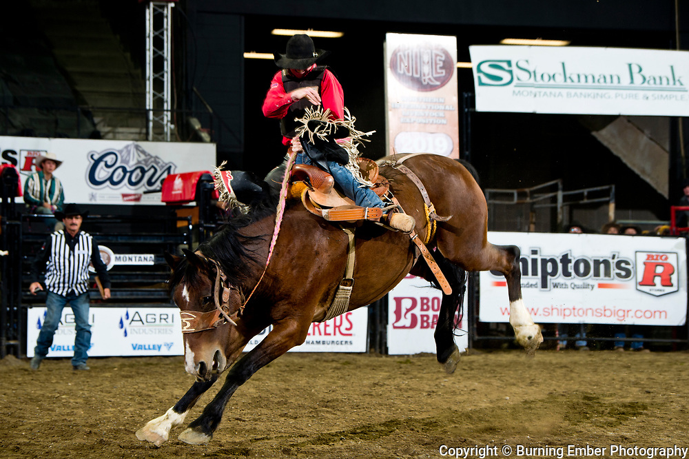 Garrett Cunningham on powder River Rodeo's  at the NILE Rodeo 1st Perf Oct 17th, 2019.  Photo by Josh Homer/Burning Ember Photography.  Photo credit must be given on all uses.