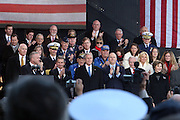 Audience greets President George W, Bush and First Lady Laura Bush at The 2008 Veterans Day  Ceremonies at the Intrepid Sea, Air, & Space Musem on November 11, 2008 in NYC
