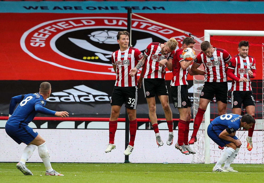 The free kick from Chelsea's Ross Barkley hits the wall<br /> <br /> Photographer Alex Dodd/CameraSport<br /> <br /> The Premier League - Sheffield United v Chelsea - Saturday 11th July 2020 - Bramall Lane - Sheffield<br /> <br /> World Copyright © 2020 CameraSport. All rights reserved. 43 Linden Ave. Countesthorpe. Leicester. England. LE8 5PG - Tel: +44 (0) 116 277 4147 - admin@camerasport.com - www.camerasport.com