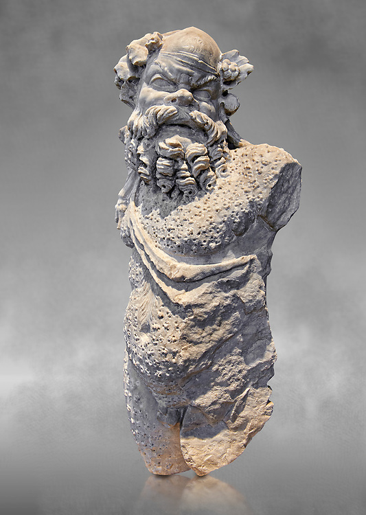 Roman statue of Silenus or Papposilenus from the mid 2nd cent. AD excavated from the Villa Spithoever, via Flavia, Rome, Italy. Papposilenus, the aged Silenus was tutor to Cionysus. In this statue he is portrayed with a hairy coat accentuating his wild nature. When the statue was complete it may have had its right arm held up grasping a bunch of grapes and a cup of wine in the left hand. The statue is copied from a late hellenistic original dating from 2nd cent. BC known as the satyr pouring wine by Greek sculptor Praxiteles circa 370-300 BC .  Inv  78294, The National Roman Museum, Rome, Italy .<br /> <br /> If you prefer to buy from our ALAMY PHOTO LIBRARY  Collection visit : https://www.alamy.com/portfolio/paul-williams-funkystock/roman-museum-rome-sculpture.html<br /> <br /> Visit our ROMAN ART & HISTORIC SITES PHOTO COLLECTIONS for more photos to download or buy as wall art prints https://funkystock.photoshelter.com/gallery-collection/The-Romans-Art-Artefacts-Antiquities-Historic-Sites-Pictures-Images/C0000r2uLJJo9_s0