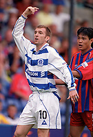 Karl Connolly (QPR) and Fan Zhiyi (Palace). Crystal Palace v Queens Park Rangers. Football League Division One, 20/08/2000. Credit: Colorsport / Matthew Impey.