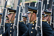 16 SEPTEMBER 2005 - MEXICO CITY: Military cadets march in the   Independence Day parade in Mexico City, Sept. 16. Mexico celebrated its 195th Independence Day in 2005 with a huge military parade through the center of Mexico City.  PHOTO BY JACK KURTZ