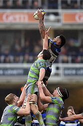 Levi Douglas of Bath Rugby wins the ball at a lineout - Mandatory byline: Patrick Khachfe/JMP - 07966 386802 - 27/01/2018 - RUGBY UNION - The Recreation Ground - Bath, England - Bath Rugby v Newcastle Falcons - Anglo-Welsh Cup