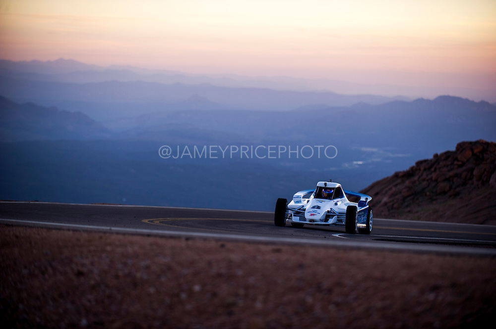 June 26-30 - Pikes Peak Colorado. Ikuo Hanawa runs his car during practice for the 91st running of the Pikes Peak Hill Climb.