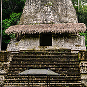 One of the smaller structures in the Tikal Maya ruins in northern Guatemala, now enclosed in the Tikal National Park. In the foreground is a stela that has fallen over and is now protected by a small roof.