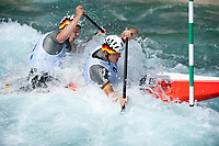 White-water canoeing Olympic Test Event, Mens c2 class, Le Valley White-water centre, England