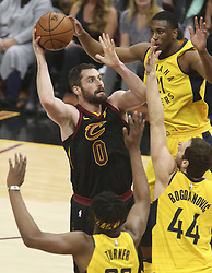 April 29, 2018 - Cleveland, OH, USA - Cleveland Cavaliers' Kevin Love puts up a first quarter shot between three Indiana Pacers defenders in Game 7 of the Eastern Conference First Round series on Sunday, April 29, 2018 at Quicken Loans Arena in Cleveland, Ohio. The Cavs won the game, 105-101. (Credit Image: © Phil Masturzo/TNS via ZUMA Wire)