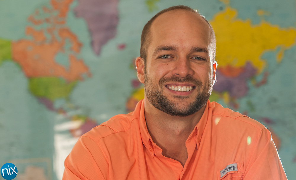 First year teacher Eric Wright in his classroom at Central Cabarrus High School. Wright will be teaching Spanish.