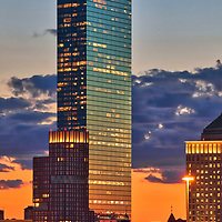 Boston skyline photography showing the Boston Hancock Tower on a beautiful sunset night. This Boston blue hour skyline photography images are available as museum quality photography prints, canvas prints, acrylic prints or metal prints. Fine art prints may be framed and matted to the individual liking and decorating needs:<br />