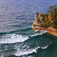 """""""Those Waves at Miners Castle""""<br /> <br /> Enjoy beautiful rolling waves on Lake Superior at Miners Castle which is located in Pictured Rocks National Lake Shore. A wonderful early autumn scene!"""