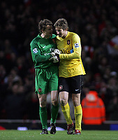 Photo: Paul Thomas.<br /> Arsenal v Manchester United. The Barclays Premiership. 21/01/2007.<br /> <br /> Both keepers Edwin van der Sar (R) of Man Utd and Jens Lehmann share a moment after the game.