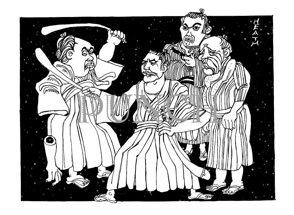 (Yojimbo) Toshiro Mifune as Sanjuro, Eijuro Tono as Gonji, Tatsuya Nakadai as Unosuke