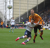 Preston North End's Sean Maguire in action with Hull City's Jordy de Wijs <br /> <br /> Photographer Mick Walker/CameraSport<br /> <br /> The EFL Sky Bet Championship - Preston North End v Hull City - Saturday 22nd February 2020 - Deepdale Stadium - Preston<br /> <br /> World Copyright © 2020 CameraSport. All rights reserved. 43 Linden Ave. Countesthorpe. Leicester. England. LE8 5PG - Tel: +44 (0) 116 277 4147 - admin@camerasport.com - www.camerasport.com