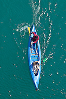 Kayak in the turquoise colored water of Gourge du Verdon and Lac de ste Croix, France