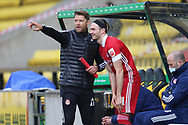 Aberdeen's Ryan Hedges (11) makes his return as a substitute during the Scottish Premiership match between Livingston and Aberdeen at Tony Macaroni Arena, Livingstone, Scotland on 1 May 2021.