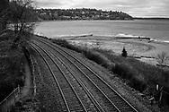 Rail follows shoreline into the Puget Sound area.