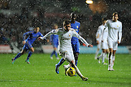 Swansea city's Pablo Hernandez makes a break. Barclays Premier league, Swansea city v Chelsea at the Liberty Stadium in Swansea, Swansea, South Wales on Saturday 3rd November 2012. pic by Andrew Orchard, Andrew Orchard sports photography,