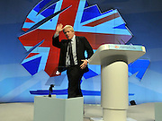 © Licensed to London News Pictures. 04/10/2011. MANCHESTER. UK. Boris Johnson, London Mayor addresses The Conservative Party Conference at Manchester Central today, October 4, 2011. Photo credit:  Stephen Simpson/LNP