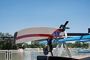 """Plovdiv BULGARIA. 2017 FISA. Rowing World U23 Championships. The """"Spoon"""" of the oar/blade, under repair [Clamps]<br /> <br /> Wednesday. PM, general Views, Course, Boat Area<br /> 12:10:51  Wednesday  19.07.17   <br /> <br /> [Mandatory Credit. Peter SPURRIER/Intersport Images]."""