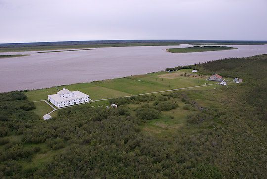 York Factory, an old fort situated at the mouth of the Hayes River on the shores of Hudson Bay, Manitoba. Canada