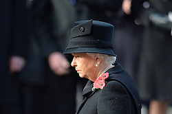 Queen Elizabeth II before laying a wreath during the annual Remembrance Sunday Service at the Cenotaph memorial in Whitehall, central London, held in tribute for members of the armed forces who have died in major conflicts.