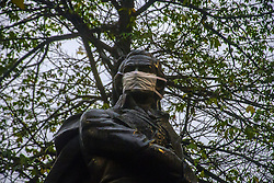 August 18, 2017 - Sao Paulo, Sao Paulo, Brazil - The statue of Venezuelan military man, Sebastian Francisco de Miranda Rodriguez, in the region of Avenida Paulista, west of Sao Paulo, was covered with a surgical mask on August 18, 2017 in protest against the PL (Law Bill) 300/2017, which extends to 20 years the term for the use of Renewable fuel in 100% of the capital's buses. According to a study made at Greenpeace's request, more than 3,000 deaths will be caused this year in the capital due to health problems aggravated by the emission of pollutants from the diesel bus fleet. For Pedro Telles, a climate change expert at Greenpeace, the use of renewable fuel ''would save one life a day by 2050, and more so in the long term' (Credit Image: © Cris Faga/NurPhoto via ZUMA Press)