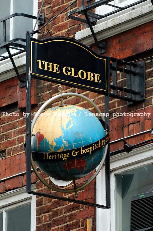 The Globe Pub Sign, Covent Garden, London Britain - August 2009