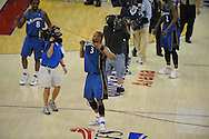 The Washington Wizards defeated the Cleveland Cavaliers 88-87 in Game 5 of the First Round of the NBA Playoffs, April 30, 2008 at Quicken Loans Arena in Cleveland..Caron Butler holds up his jersey after his game-winning shot defeated the Cavaliers. Also celebrating is Roger Mason.