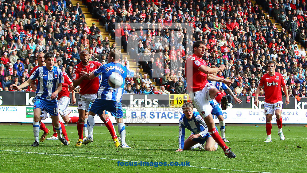 Picture by John Rainford/Focus Images Ltd. 07506 538356.05/05/12.Danny Hollands of Charlton Athletic fires in the equaliser against Hartlepool United during the Npower League 1 match at The Valley stadium, London.