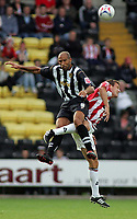 Photo: Paul Thomas.<br /> Notts County v Sheffield United. Pre Season Friendly. 01/08/2006.<br /> <br /> Jason Lee (L) of Notts wins the ball from Craig Short.