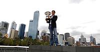 Australian Open Tennis Melbourne 29/01/2007<br /> Roger Federer (SUI) with Mens singles Trophy on South Bank Promenade Melbourne<br /> Photo Roger Parker Fotosports International