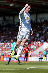 Wayne Rooney of Manchester United celebrates scoring a goal to make it 0-2 - Rogan Thomson/JMP - 14/08/2016 - FOOTBALL - Vitality Stadium - Bournemouth, England - Bournemouth v Manchester United - Premier League Opening Weekend.