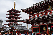 5-storied pagoda. Founded in 645 AD, the popular Buddhist temple Sensoji (or Asakusa Kannon Temple) was completely rebuilt several times, mostly after World War II, in Asakusa, Tokyo, Japan.
