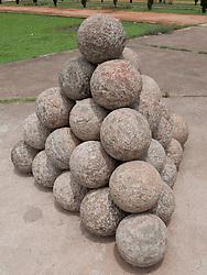 Cannon balls at Tippu Sultan's summer palace, Mysore