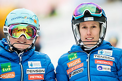 """Meta Hrovat (SLO) and Klara Livk (SLO) after the 1st Run of FIS Alpine Ski World Cup 2017/18 Ladies' Slalom race named """"Snow Queen Trophy 2018"""", on January 3, 2018 in Course Crveni Spust at Sljeme hill, Zagreb, Croatia. Photo by Vid Ponikvar / Sportida"""