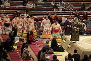 Sumo wrestling event Tokyo performing the ring entering ceremony