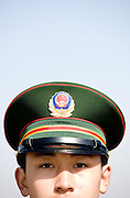 A Chinese soldier stands guard on Tiananmen Square during a session of the National People's Congress in Beijing.