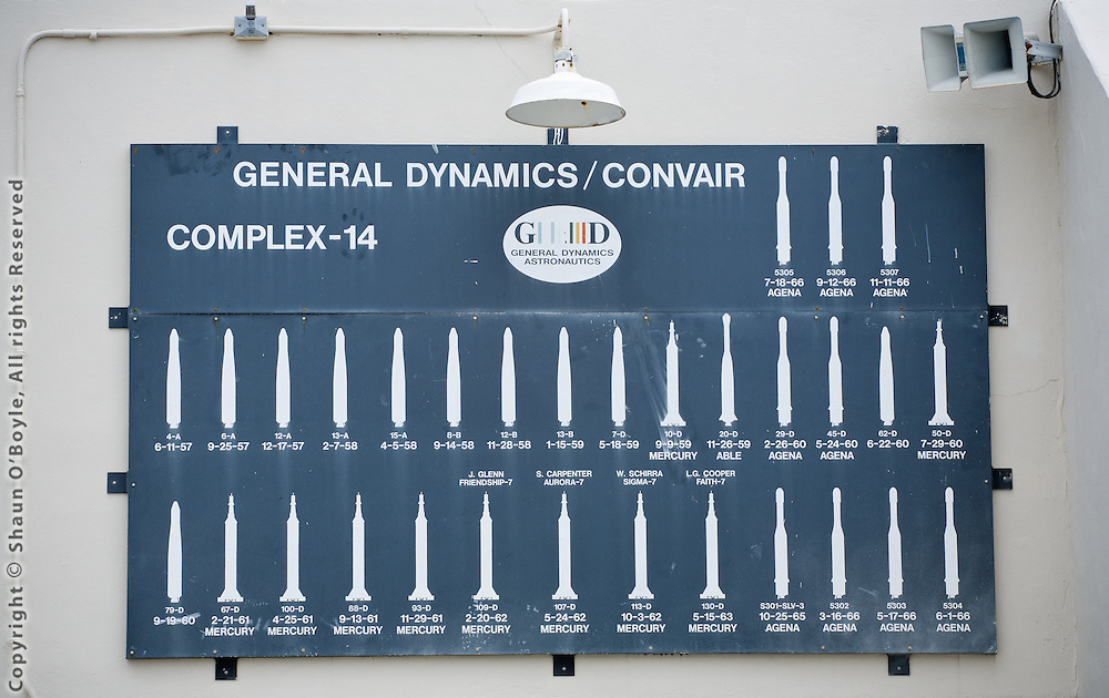 Blockhouse sign at Launch Complex 14 showing various rockets launched here. This is the site of the Mercury rocket launches and John Glenn's orbital flight in Friendship 7.