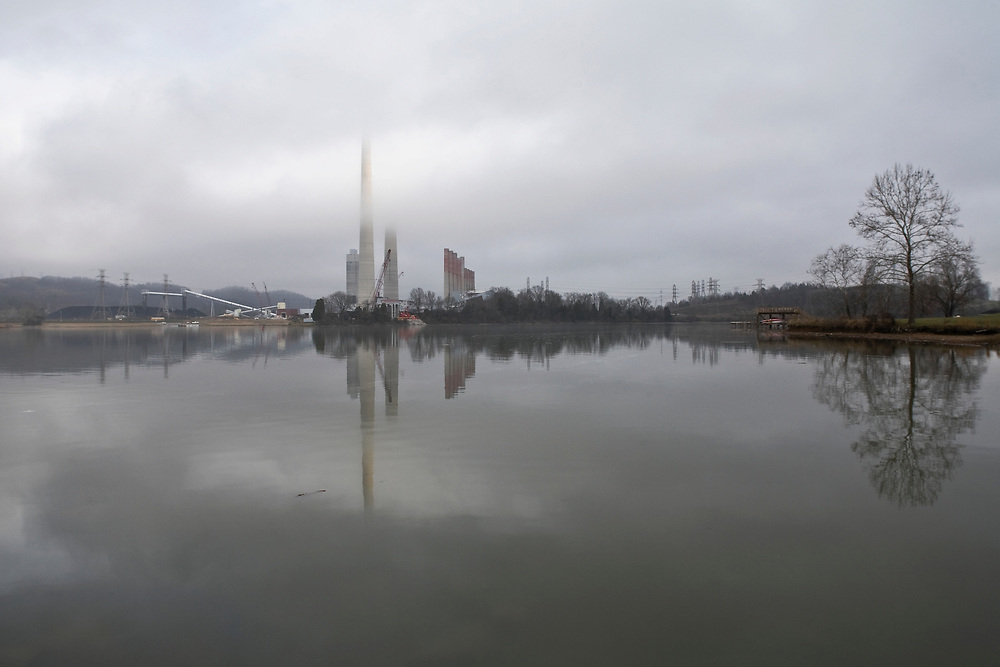 Kingston Fossil Plant cloaked in a winter fog