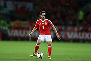 Joe Allen of Wales in action.Wales v Moldova , FIFA World Cup qualifier at the Cardiff city Stadium in Cardiff on Monday 5th Sept 2016. pic by Andrew Orchard, Andrew Orchard sports photography