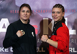 Katie Taylor (left) and Nina Meinke during a press conference at Sky Sports Studios, Isleworth.