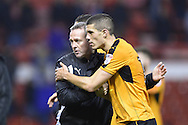 Wolverhampton Wanderers manager Paul Lambert congratulates his players after the final whistle during the EFL Sky Bet Championship match between Nottingham Forest and Wolverhampton Wanderers at the City Ground, Nottingham, England on 17 December 2016. Photo by Jon Hobley.