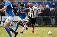 Adrian Clifton of Maidenhead United on the attack during the The FA Cup 1st round match between Maidenhead United and Portsmouth at York Road, Maidenhead, United Kingdom on 10 November 2018.