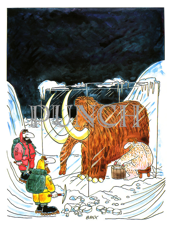 (early man milking a mammoth preserved in an ice block)