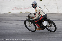 Moonshiner Josh Owens on the track on his Harley-Davidson racer at Billy Lane's Sons of Speed vintage motorcycle racing during Biketoberfest. Daytona Beach, FL, USA. Saturday October 21, 2017. Photography ©2017 Michael Lichter.
