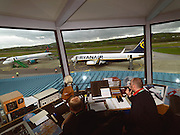 Traffic controllers deal with a Ryanair flight and a First Choice flight at Kerry Airport in Faranfore, County Kerry..Picture by Don MacMonagle