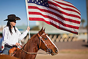 28 JANUARY 2012 - BUCKEYE, AZ:    A girls' mounted drill team rides in the Buckeye Days parade. The Buckeye Days parade went through downtown Buckeye, AZ, an agricultural community about 45 miles west of Phoenix. The parade was one the first events to mark Arizona's centennial celebration. Arizona was admitted to the United States on Feb 14, 1912, making it the 48th state in the union. The state celebrates its 100th birthday with a series of events on Feb. 14, 2012.     PHOTO BY JACK KURTZ