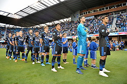 June 9, 2018 - San Jose, California, United States - San Jose, CA - Saturday June 09, 2018: National anthem during a Major League Soccer (MLS) match between the San Jose Earthquakes and Los Angeles Football Club at Avaya Stadium. (Credit Image: © John Todd/ISIPhotos via ZUMA Wire)