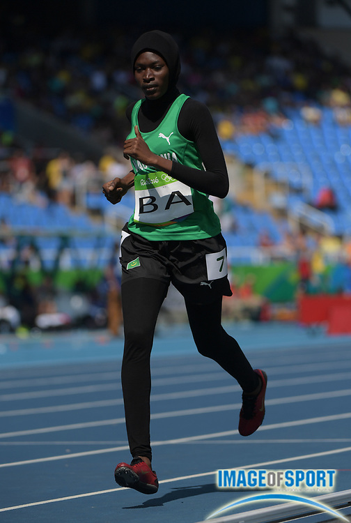 Aug 17, 2016; Rio de Janeiro, Brazil; Houleye Ba (MTN) during the women's 800m heats in the Rio 2016 Summer Olympic Games at Estadio Olimpico Joao Havelange.