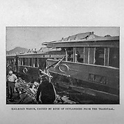 Railroad wreck caused by the Rush of Outlanders from the Transvaal from the book ' Boer and Britisher in South Africa; a history of the Boer-British war and the wars for United South Africa, together with biographies of the great men who made the history of South Africa ' By Neville, John Ormond Published by Thompson & Thomas, Chicago, USA in 1900